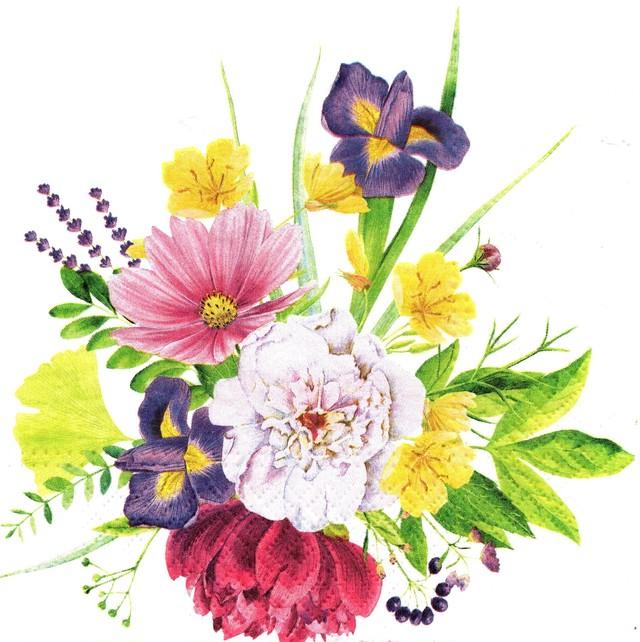 【TETE a TETE】バラ売り2枚 ランチサイズ ペーパーナプキン LOVELY BUNCH ホワイト