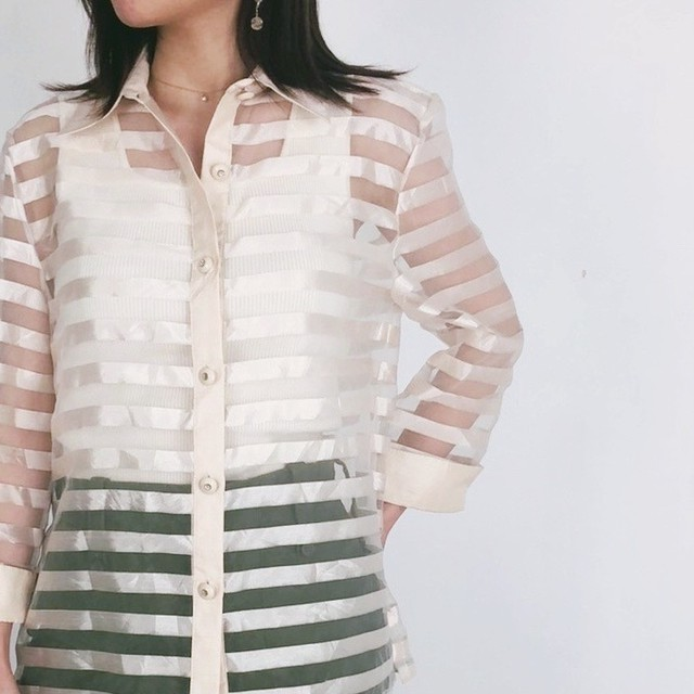 ◼︎80s vintage striped sheer shirt from U.S.A.◼︎