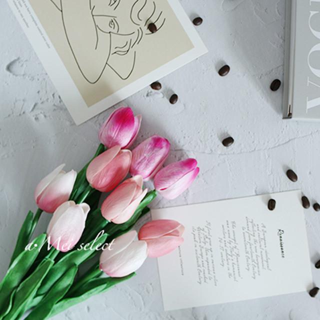 【フェイクグリーン】各色10本/ハイブリッド9本 ピンク系チューリップ アーティフィシャルフラワー【全4タイプ】  造花 グリーン 観葉植物 植物のある生活 イミテーション デコアイテム