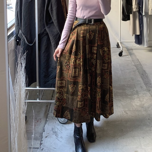"made in USA "" ORVIS "" vintage paisley pattern skirt"