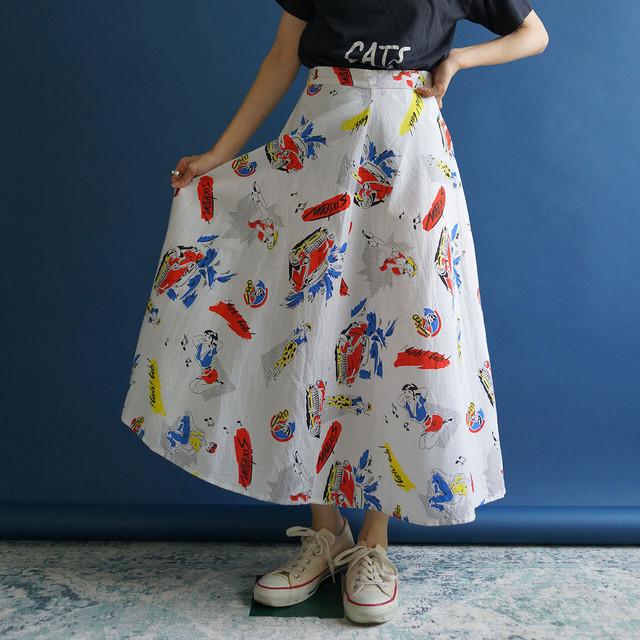 【送料無料】70's Vintage White novelty print knee length high waist skirt(70年代 ノベルティープリント ハイウエスト スカート)