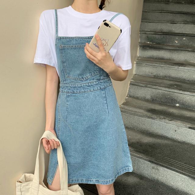 【dress】シンプルレトロ合わせやすいデニム清新サロペットカジュアルワンピース