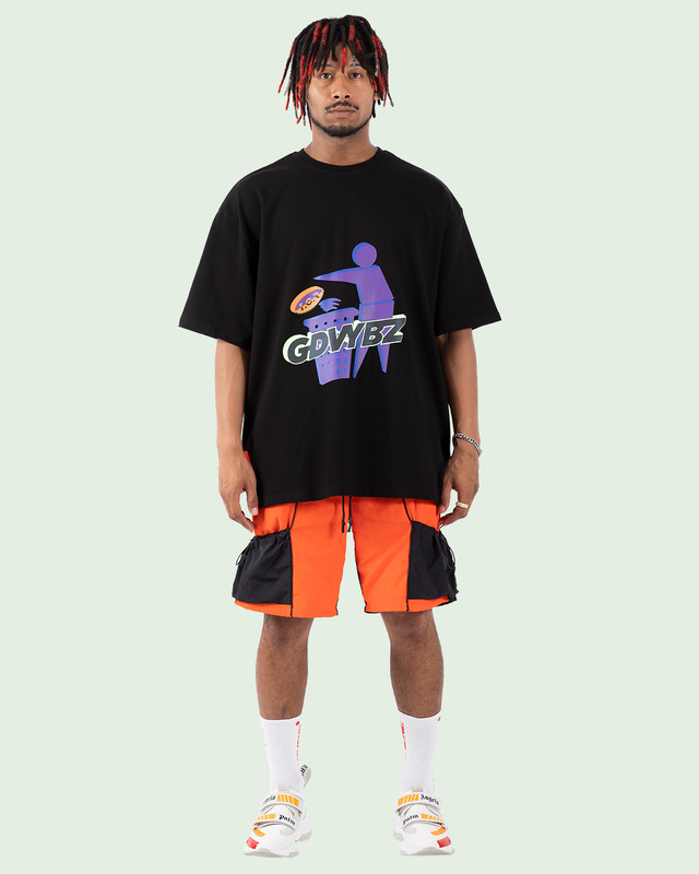 OVERSIZED RAINBOW REFLECTIVE GDVYBZ TEE BLACK