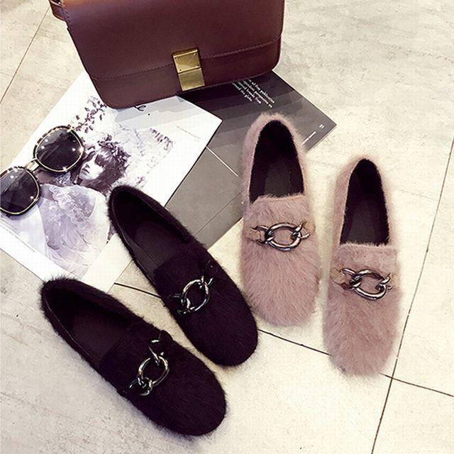 【FURREZIO / Fu Ruizi】秋冬 ベルベットメタルバックルファーフラットシューズ / Flat velvet metal buckle fur scoop shoes (DCT-576127480803)