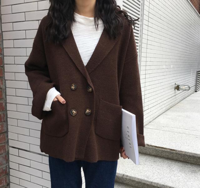 Pコート風 ニットジャケット ニットカーディガン【ブラウン】