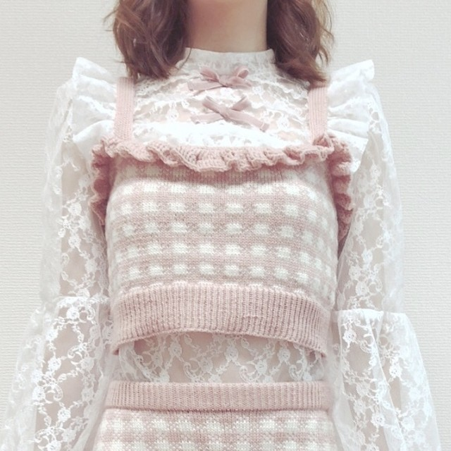 18AW gingham knit bustier ○2colors