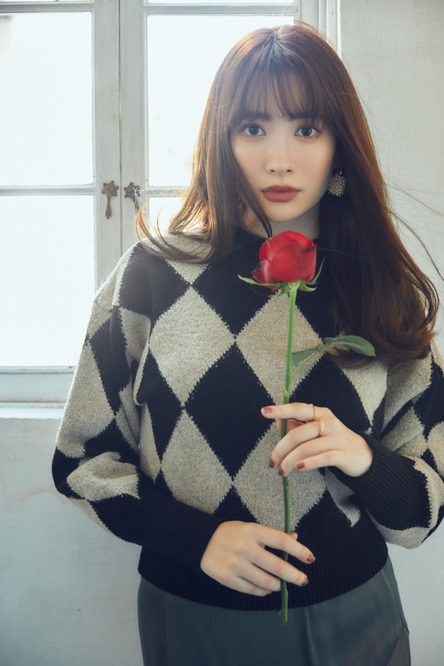 Twinkle Argyle Knit Pullover