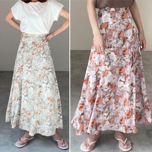 ◆即納◆水彩総柄プリント配色パイピングロングマーメイドスカート
