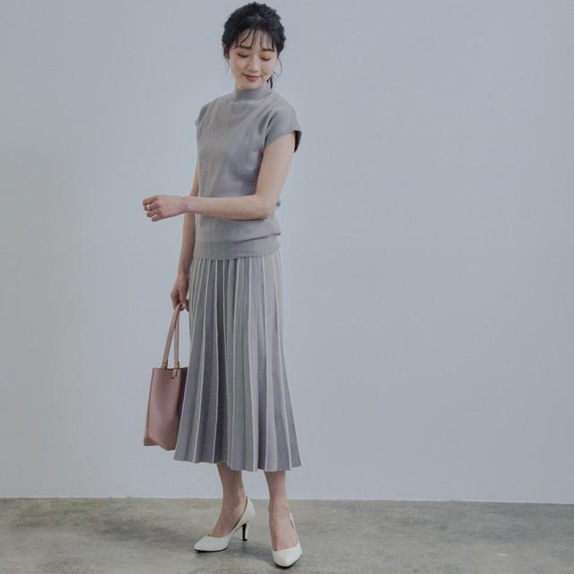 綿タッチポリ配色スカートセットアップ FLE31010