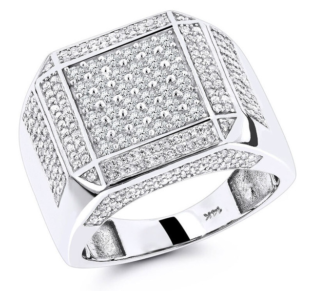 14K WHITE GOLD MENS DIAMOND RING 1.83CT