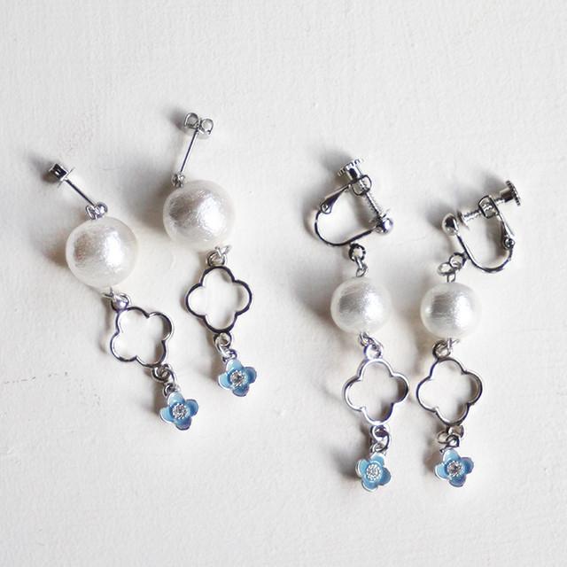 親子ペア-petit flower-[ピアス・イヤリング]小花ブルー | 親子ペアのイヤリングやヘアアクセショップ Lililover