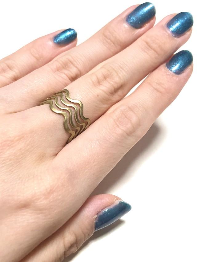 【TAMARI】Raw brass wavy ring