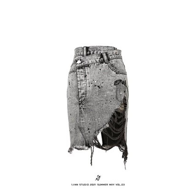 【1 JINN STUDIO】ブリーチダメージデニムスカート