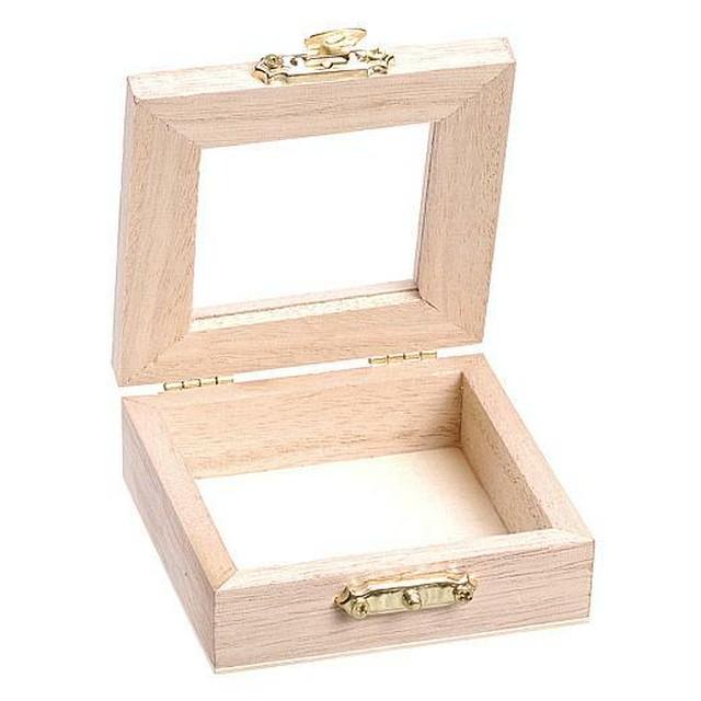 【PAPERLETTER】無塗装の木製ケース 7×7×2.5cm 小物入れ ミニボックス デコパージュ用