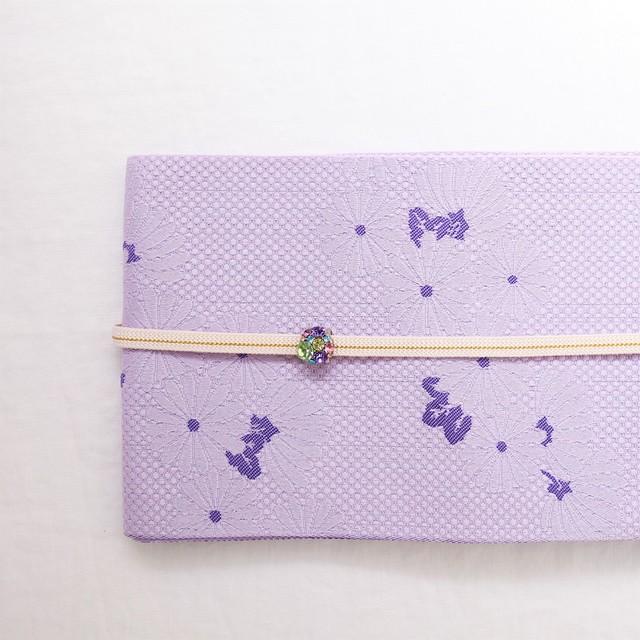 【ゆかた用 半巾帯 4m 】 薄紫色 菊