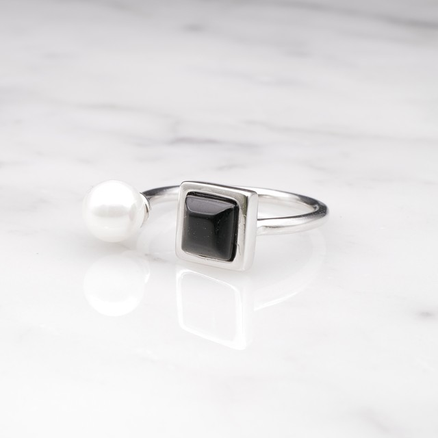 S925 PEARL & BLACK AGATE RING