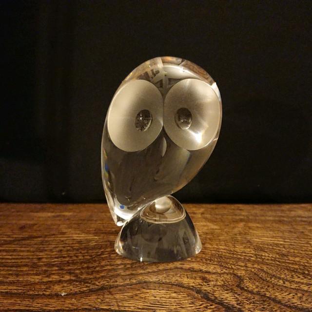Steuben/スチューベン OWL クリスタルガラス フクロウ 梟 オブジェ ペーパーウェイト