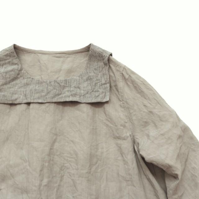 ベルギーリネン*セーラーカラーシャツ*ライトグレー