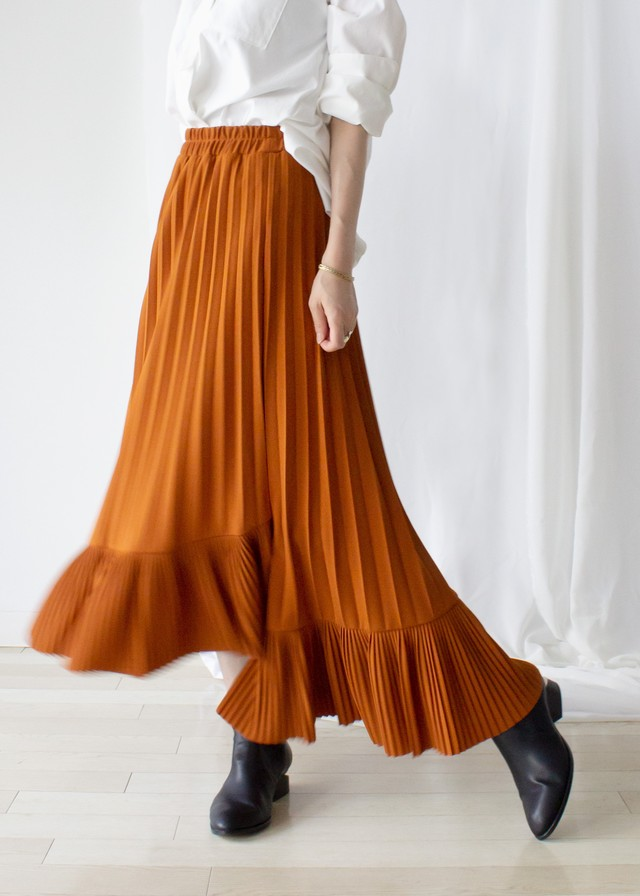 アシンメトリープリーツ スカート/オレンジ No.98734757/80