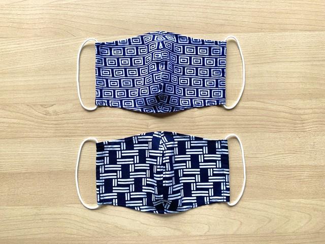 浴衣地マスク 幾何学・抽象 柄違い 濃紺 2枚組
