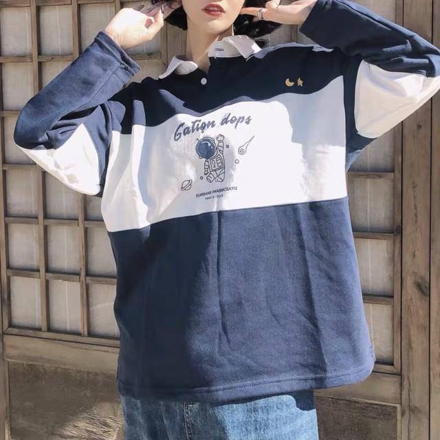 ポロシャツ アメリカン レトロ オーバーサイズ 2色 B5148【12/5まで30%OFF!!】