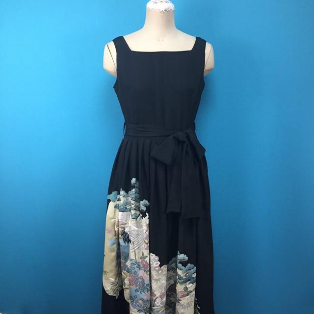 Vintage 留袖スクエアネックドレス*US 8