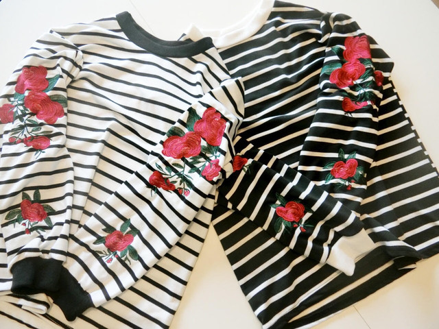 Embroidered And Striped Tops 25520
