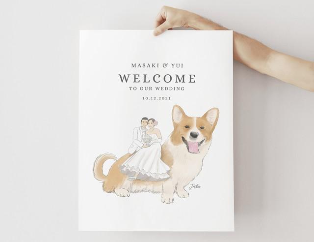 まるでおとぎの国の世界♡ペットに乗っちゃう似顔絵ウェルカムボード │結婚式 犬 猫