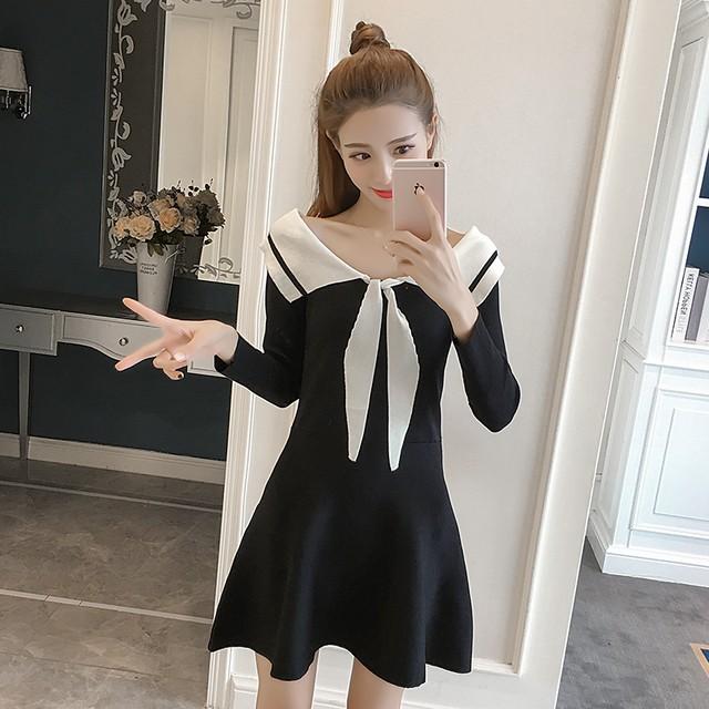 【dress】上質ニットワンピースゆったり2色展開レディースワンピース