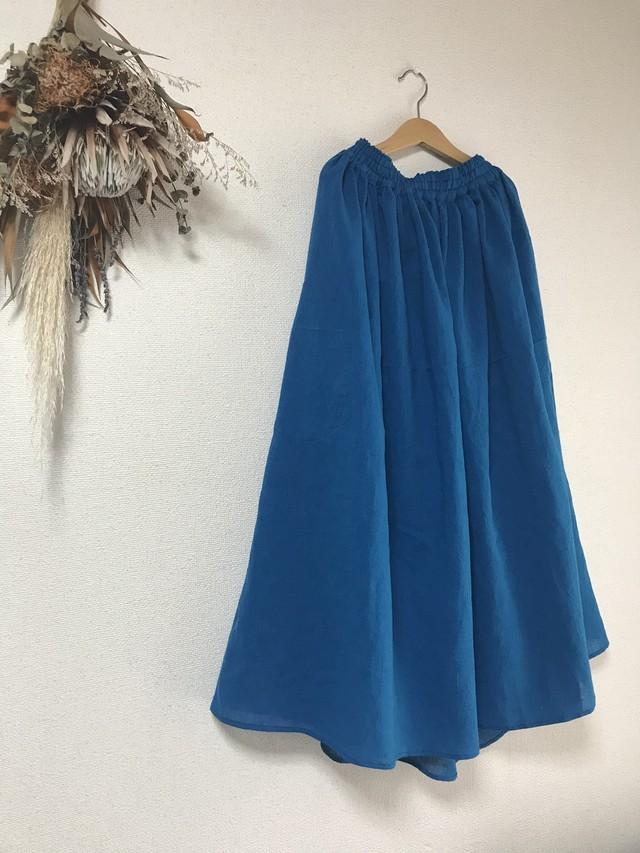 Ltd. ギャザースカート Blue 遠州織物