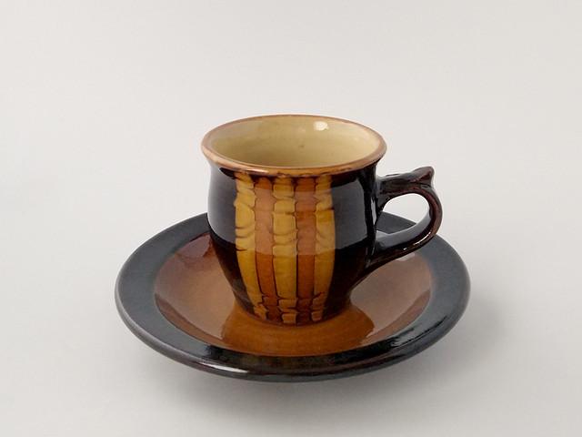 コーヒー碗皿 黒 うずら 【湯町窯】