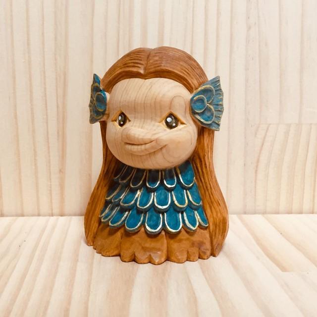 アマビエちゃんで疫病退散!(小サイズ)【木彫り】【受注製作】