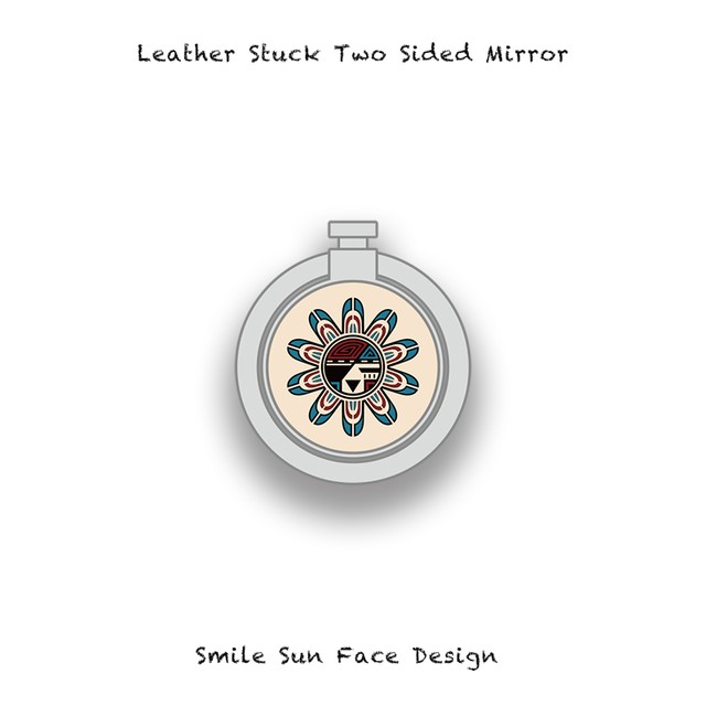 Leather Stuck Smartphone Ring / Smile Sun Face Skull Design 001