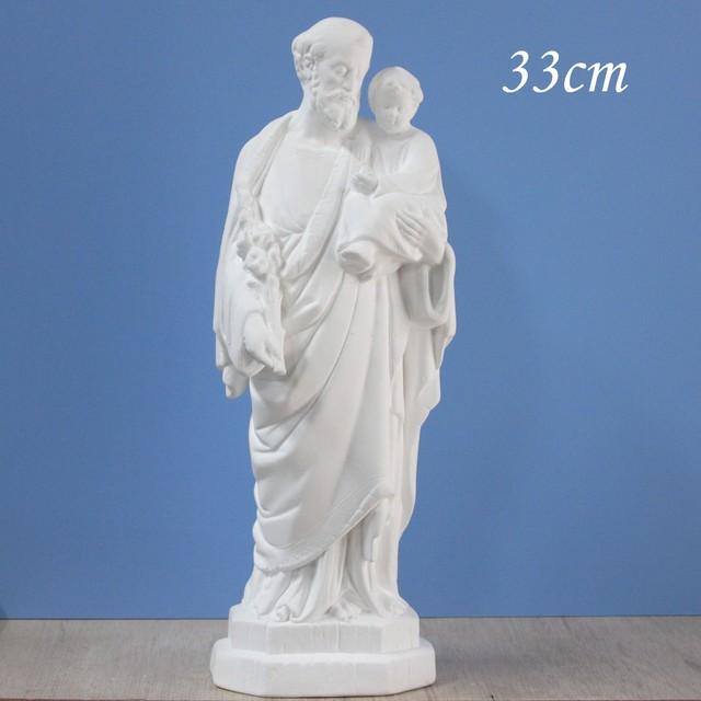 聖ヨゼフと御子像【33cm】室内用単色仕上げ