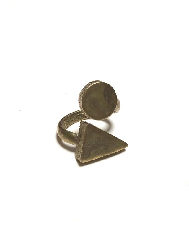 【TAMARI】Raw brass circle × triangle ring