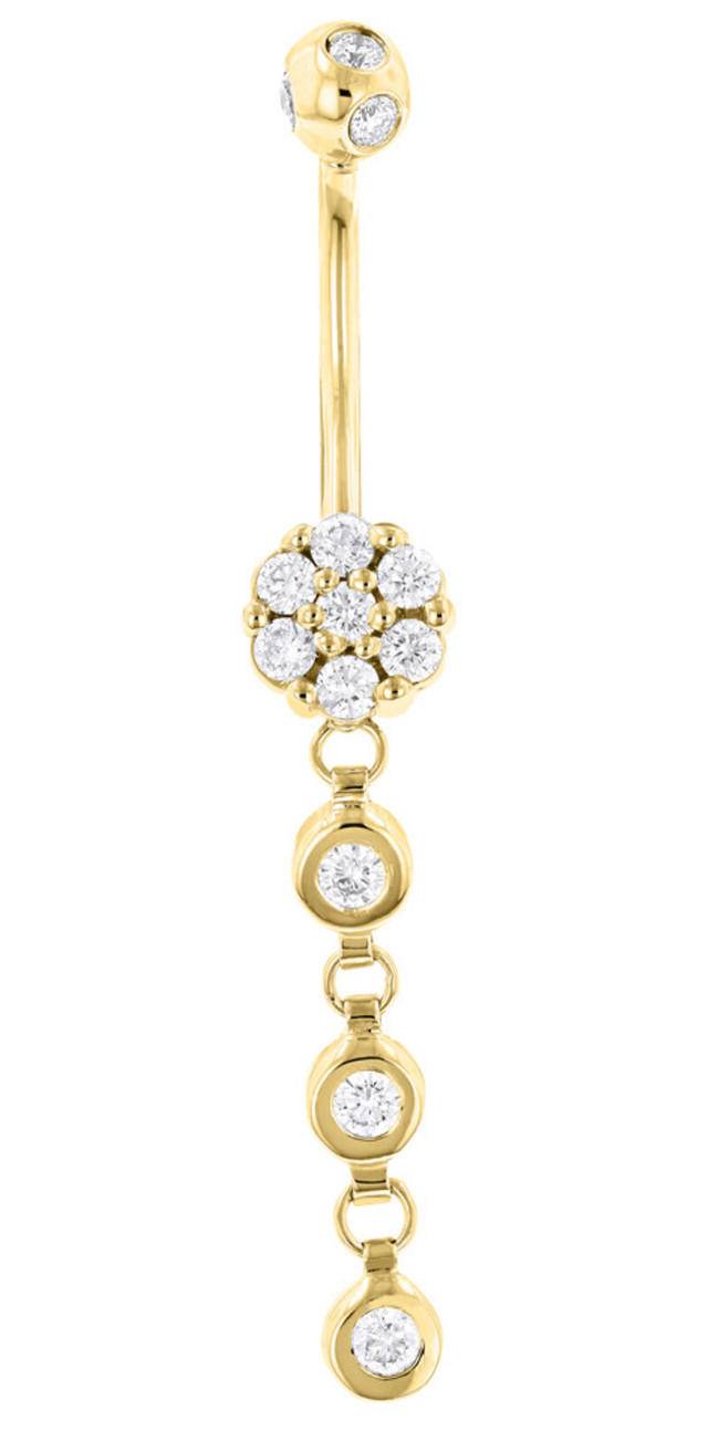 DANGLING BELLY BUTTON RING MADE OF 14K GOLD 0.75CT
