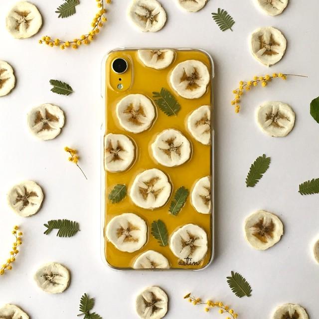 【iPhoneXRイエロー】南国バナナ 押し花スマホケース