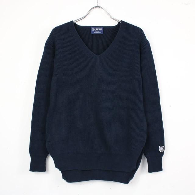 【美品】ORCIVAL / オーチバル   コットンリブニットVネックセーター   1   ネイビー