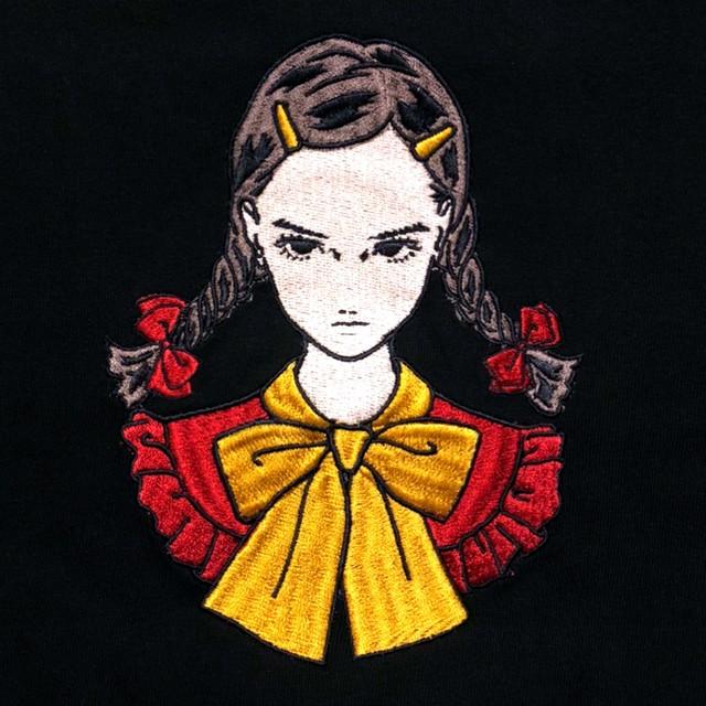 刺繍パーカー(ガールC/黒)
