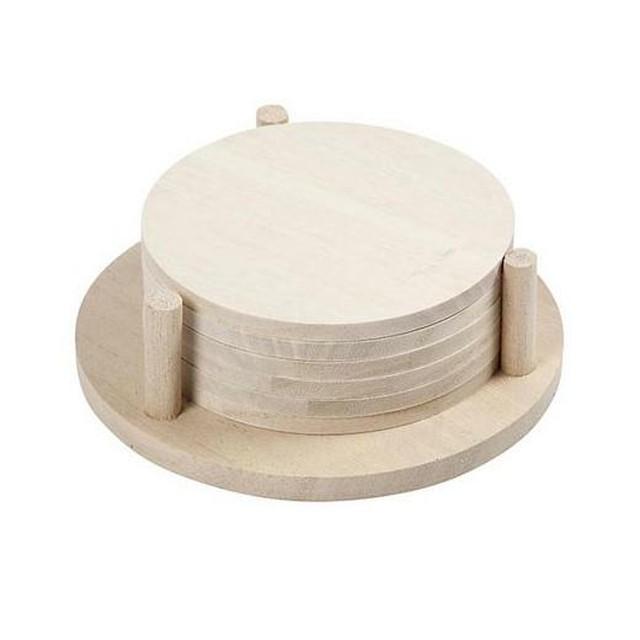 送料無料【PAPERLETTER】無塗装の木製コースター&ホールダー 13×4cm デコパージュ用