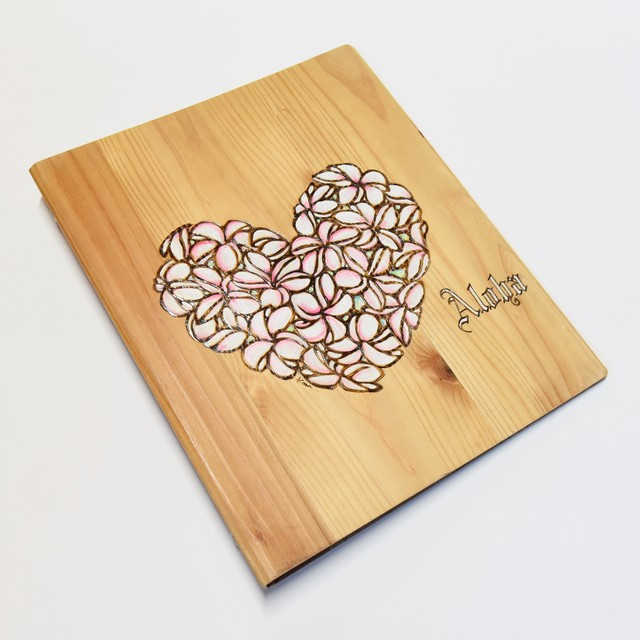 Wood File A4 【Plumeria Heart Pink】