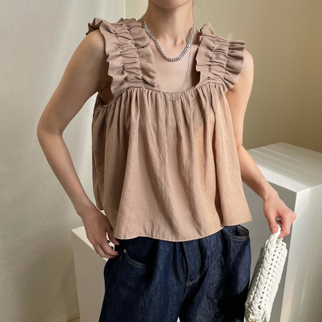 【トップス】スクエアネック切り替え人気Tシャツ47989075