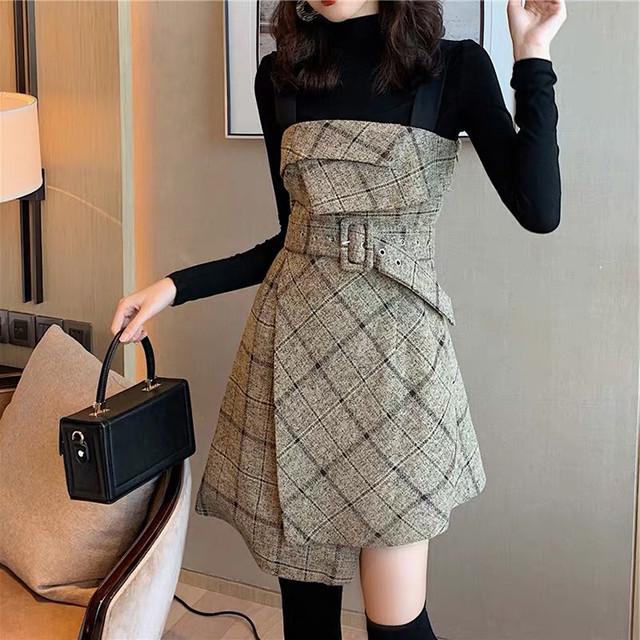 セットアップ トップス + チェック柄 キャミワンピース 韓国ファッション レディース セット ワンピース ミニ丈 ハイウエスト レトロ ガーリー / Botoming Net Dress New Vibrato Two Piece Suit (DTC-605189303386)