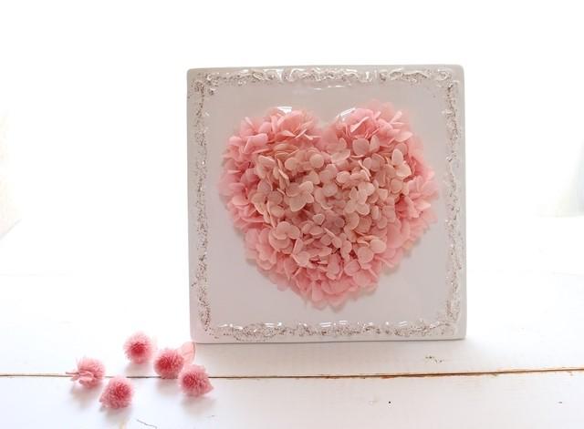ピンク紫陽花ハートフレーム