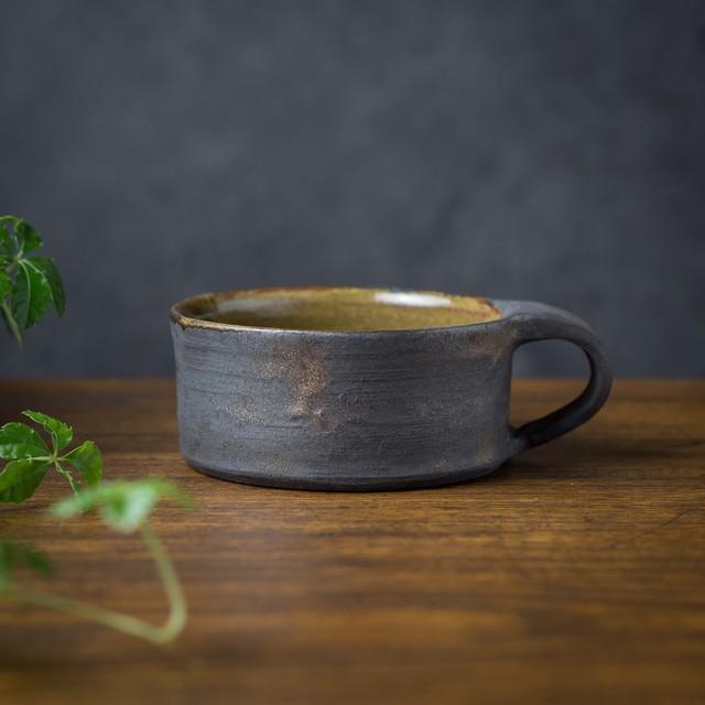 鉄錆+アメ釉 フラットスープカップ(フリーカップ・コーヒーカップ)/吉永哲子
