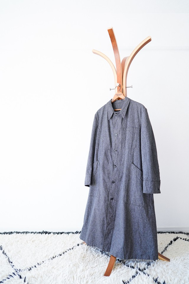 "【1950s, Deadstock】""French Army Type"" Black Chambray Coat / v465"