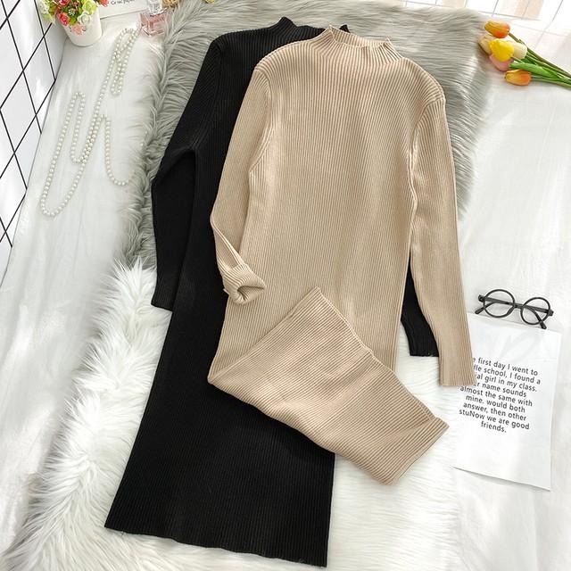 【ワンピース】女性らしい ファッション スリム 気質 無地 着痩せ ロング ニットワンピース44407922
