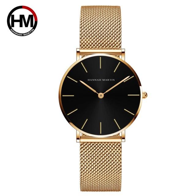 36ミリメートル新着ローズゴールド黒シンプルなバウハウスのデザイン日本クォーツレディースステンレス鋼超薄型防水女性の腕時計CH36-WJJ