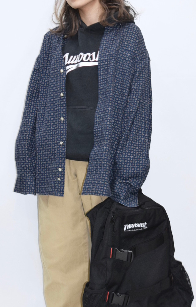 【WEB限定】PATTERN BIG SHIRTS(NAVY)
