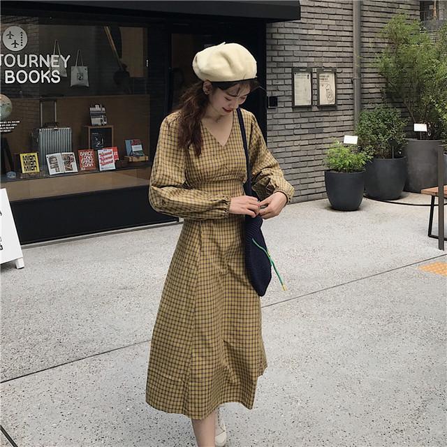 チェック柄 レトロ ワンピース 秋冬コーデ【0380】